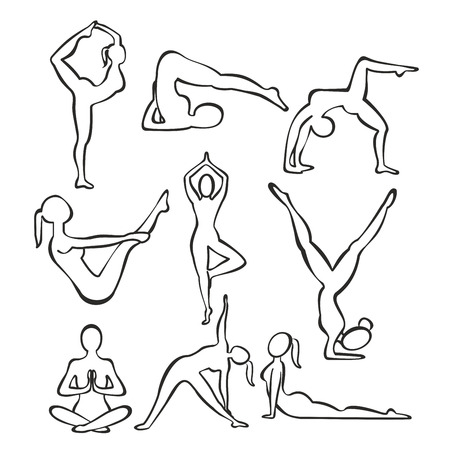Vector illustration set of contour silhouettes of slim girl practicing yoga positions, line shapes of woman doing yoga, fitness workout concept. Иллюстрация