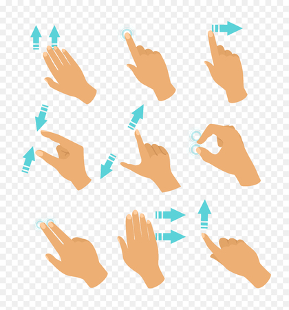 Vector illustration set of hands in different positions touch screen gestures, fingers move by blue color arrows showing direction of movement of fingers isolated on transparent background in flat style.