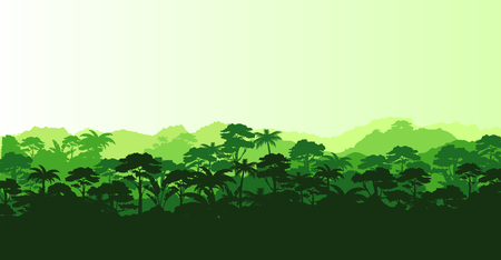 Vector illustration of horizontal panorama tropical rainforest in silhouette style with trees and mountains, jungle concept. 版權商用圖片 - 101853757