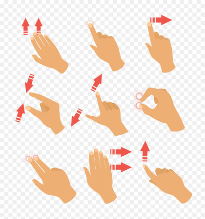 Vector illustration set of gestures icons for touch devices. Pointer arrows and hand, laptop and move. Fingers touch in flat design.