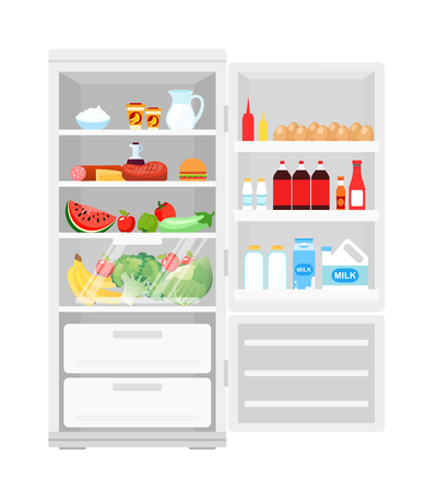 Vector illustration of modern opened refrigerator full of food. Lot of products in the fridge, fruits and vegetables, milk and eggs, healthy food in flat style. Stock Illustratie