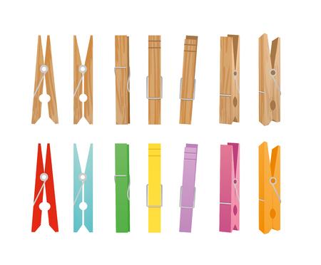 Illustration vectorielle de la collection en bois et pince à linge sur fond blanc. Pinces à linge de différentes couleurs vives et positions pour le ménage dans un style plat.