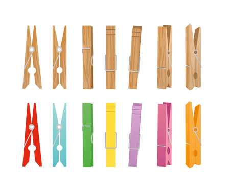 Vector illustration of wooden and clothespin collection on white background. Clothespins in different bright colors and positions for household in flat style.