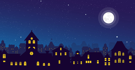 Vector illustration of the night town skyline with a full moon over urban houses rooftops in flat style. Vectores