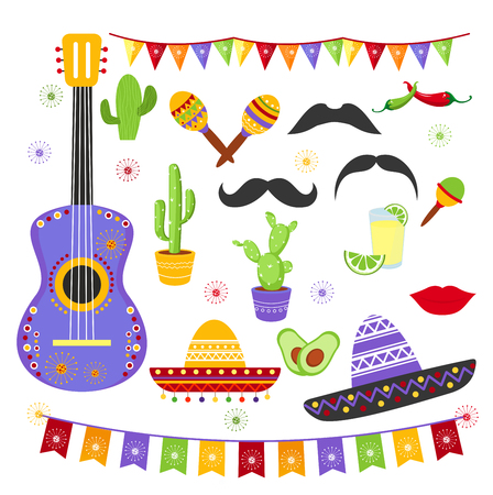 Vector illustration set of carnaval fiesta elements in bright colors and mexican style. Cinco de Mayo collection sombreros, a guitar, cactus flowers in flat cartoon design.