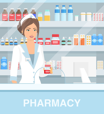Vector illustration of modern interior drugstore with pretty female pharmacist. Beautiful woman pharmacy, pills capsules bottles with vitamins and tablets on the shelfs. Medical concept in flat cartoon style.
