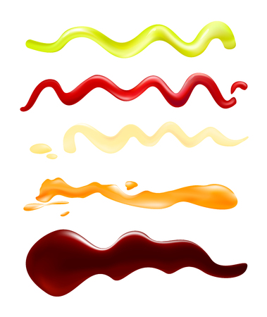 Vector illustration set of depicting strips of different sauce, soy sauce, honey and mustard, wasabi, mayonnaise and ketchup spots on white background.