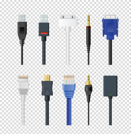 Vector illustration set of different plugs and wires, color various audio connectors and inputs collection on transparent background.