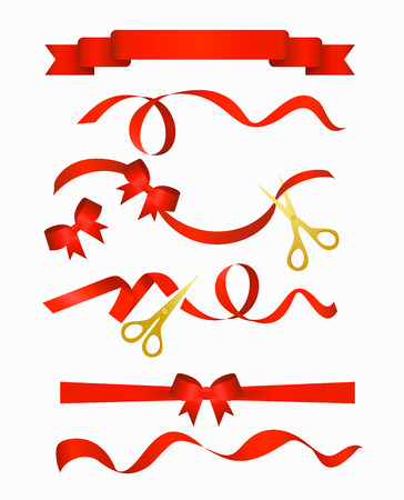 Vector illustration of red ribbons with beautiful decorative bows collection with golden scissors, isolated on white background.