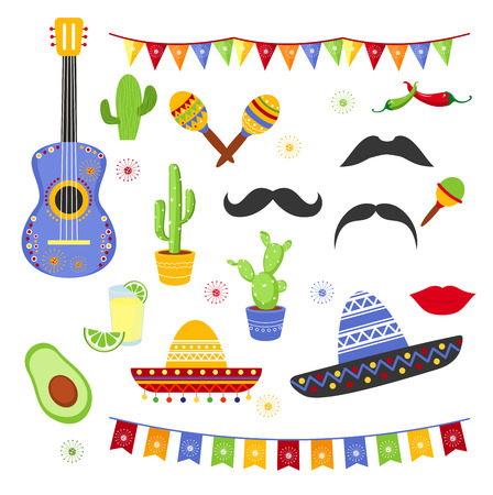 Vector illustration set of decorative elements for Fiesta. Collection of Cinco de Mayo design, flat cartoon style mexican hats, avocado, tequila, celebration, carnaval.