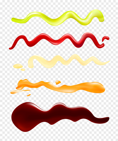 Vector illustration of a set of bright bright sauces on a transparent background. A collection that depicts strips of different sauces. Soy sauce, ketchup, mayonnaise, mustard and wasabi. Illustration