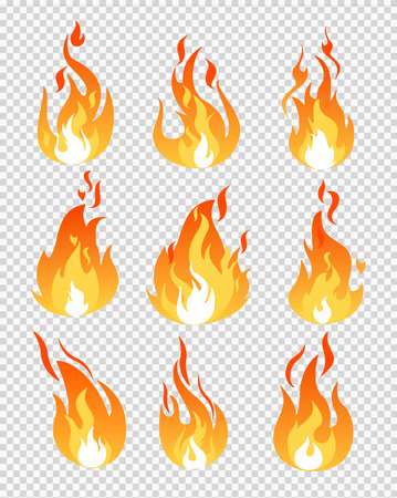 Vector illustration set of fire flames icons different shapes on the transparent background in flat cartoon style Vektoros illusztráció