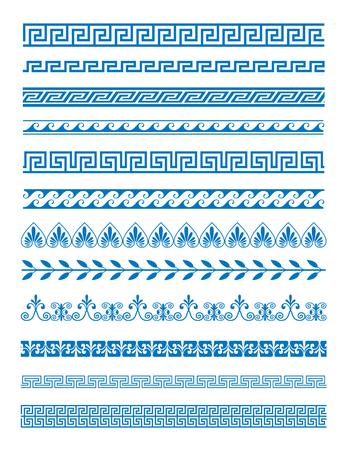 Ensemble d'illustration vectorielle de motifs grecs et ornements sur fond blanc. Les éléments décoratifs de vague et de méandre ont placé la couleur bleue