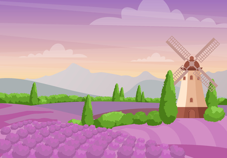 Vector illustration of beautiful colorful landscape with windmill on the lavender fields. Lavender landscape with mountains and sunset. Provence concept in flat style