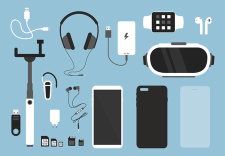 Illustrazione vettoriale di smartphone e accessori per esso. Telefono con custodia, caricabatterie, cuffie e vetro protettivo, cover e altro per smartphone in stile cartone animato piatto