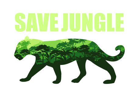 Vector illustration of save jungle concept with jaguar silhouette and rainforests inside. Tropical rainforest Jungle background, save nature, ecological concept.