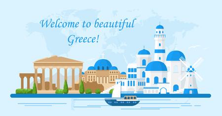 Vektor-Illustration von Griechenland-Reisekonzept. Willkommen in Griechenland. Santorini-Gebäude, Akropolis und Tempelikonen. Tourismusbanner in hellen Farben und flachem Cartoon-Stil.