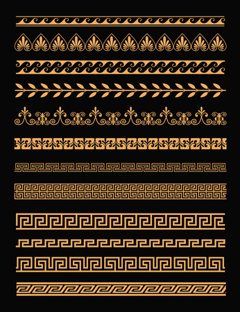 Vector illustration set of antique greek borders and seamless ornaments in golden color on black background in flat style. Greece concept elements.