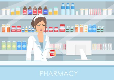 Ilustración de vector de farmacéutico bastante femenino en farmacia interior o droguería con pastillas y medicamentos, botellas con vitaminas y tabletas de estilo plano. Estilo de vida saludable, concepto de medicina