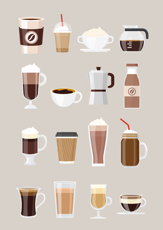 Vector illustration set of different coffee drinks, coffee in cups, glasses isolated on grey background. offee maker, chocolate milkshake, espresso, macchiato, cocoa and frappe, americano, latte and cappuccino in flat style