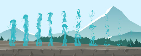 Vector illustration set of geysers, frozen streams and splashes of water isolated on mountains background in flat style
