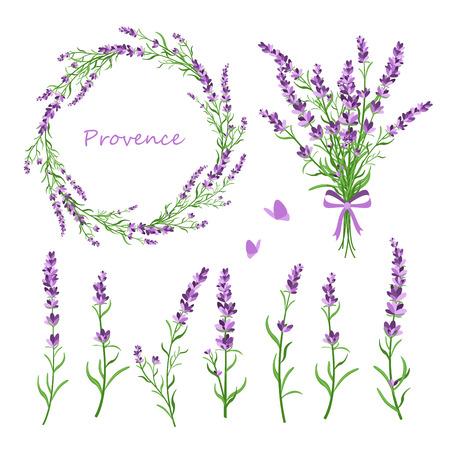 Vector illustratie set lavendel bloemen, boeket, krans en elementen van ontwerp voor wenskaart op witte achtergrond in vlakke retro stijl, provence concept