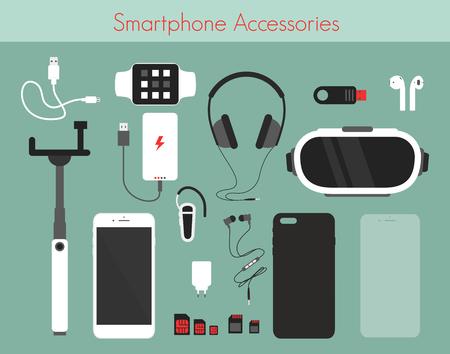 Ensemble d'illustration vectorielle de différents accessoires de téléphone sur fond vert. Smartphone avec batterie externe, chargeur et écouteurs, montre, lunettes de réalité 3D et autres accessoires de style plat