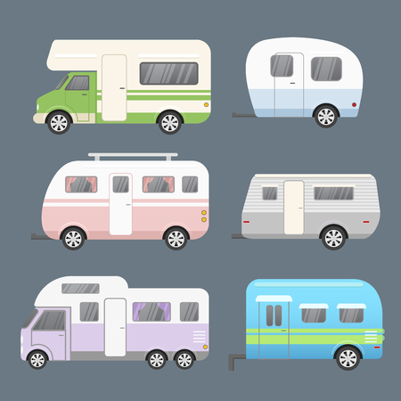 Vector illustration set of different types camping trailers, travel mobile home. Trailers for travel collection isolated on grey color background in flat cartoon style
