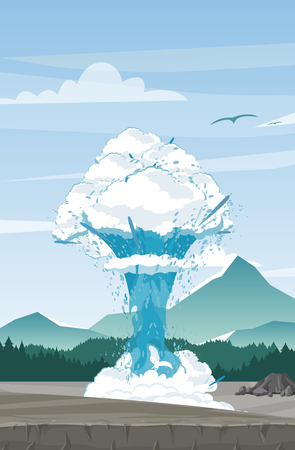 Vector illustration of geyser on mountains background. Beautiful mountain view with geyser in flat cartoon style. Travel concept Vectores