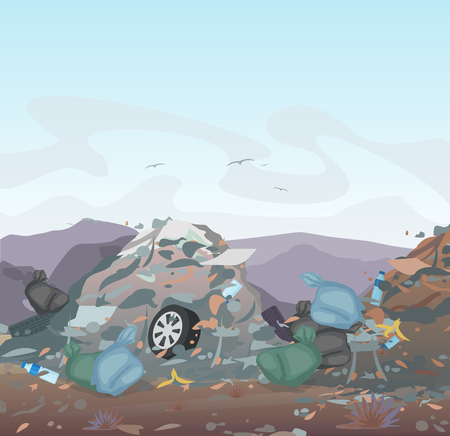 Vector illustration of garbage. landfill full of trash on mountains background. Ecology and recycle, Pollution Environment concept