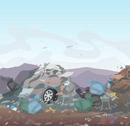 Vektorillustration des Mülls. Mülldeponie voller Müll auf Gebirgshintergrund. Ökologie und Recycling, Umweltverschmutzungskonzept Vektorgrafik