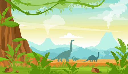 Ilustración de vector de silueta de dinosaurios en el paisaje del período Jurásico con montañas, volcán y plantas tropicales en estilo de dibujos animados plana.