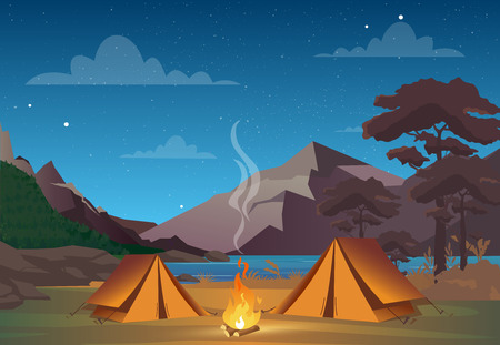 Vector illustration of camping in night time with beautiful view on mountains. Family camping evening time. Tent, fire, forest and rocky mountains background, night sky with clouds.