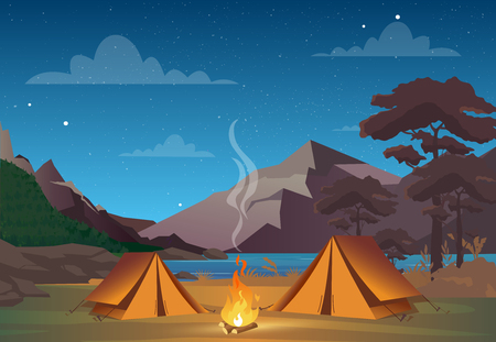 Vector illustration of camping in night time with beautiful view on mountains. Family camping evening time. Tent, fire, forest and rocky mountains background, night sky with clouds Stock Illustratie