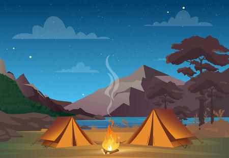 Illustrazione vettoriale di campeggio nella notte con splendida vista sulle montagne. Serata in campeggio in famiglia. Tenda, fuoco, foresta e sfondo di montagne rocciose, cielo notturno con nuvole
