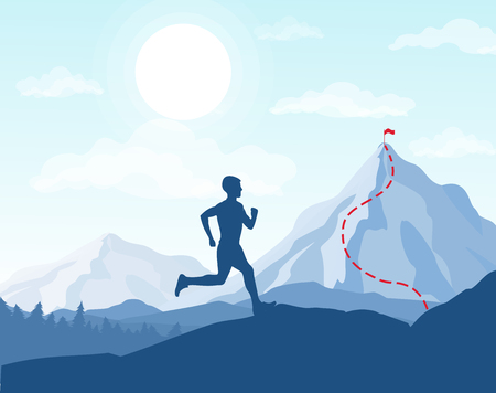 Vector illustration of running man in mountains, going to the top with the flag, business conception, achievement of the goal Vectores