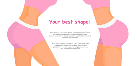Vector illustration bodysculpt concept with place for text. Fitness girl body in pink sport clothes, women sporty butt, good shape, fitness app, bodybuilding, gym in flat cartoon style. Stock Photo