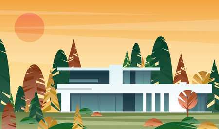 Vector illustration of modern house, real estate concept in flat style. beautifu Иллюстрация