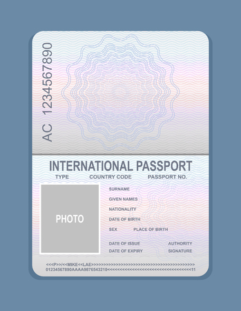 Vector illustration of open passport template. Document for travel concept, passport sample.