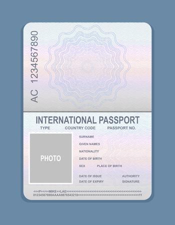 Vektor-Illustration der offenen Passvorlage. Dokument für Reisekonzept, Passmuster.