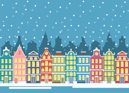 Vector illustration of winter city houses in christmas time. Winter urban landscape. Amsterdam houses, baner flat cartoon design