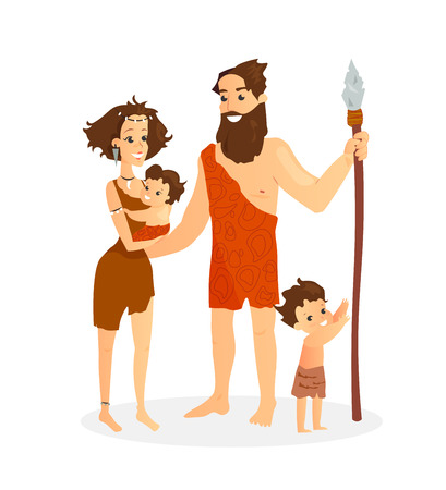 Vector illustration of cavemen family. Stone age people, pretty ancient woman with baby, ancient man and boy standing together, cartoon flat style family isolated on white background Standard-Bild - 127293036