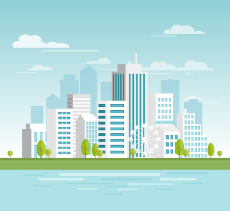 Vector illustration of modern urban cityscape with white skyscrapers, eco city with big modern buildings for your design, banners. City in flat cartoon style Standard-Bild - 127293037