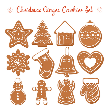 Vector illustration set of Christmas Gingerbread set with white decorative glaze. Ginger cookies in Christmas style isolated on white background in flat cartoon style Standard-Bild - 127293039