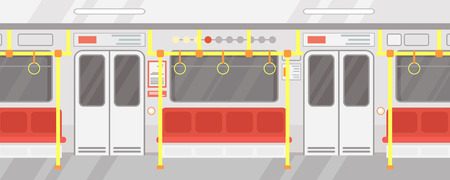 Vector illustration interior of empty subway train. Modern city public transport, Underground train in flat cartoon style with red seats
