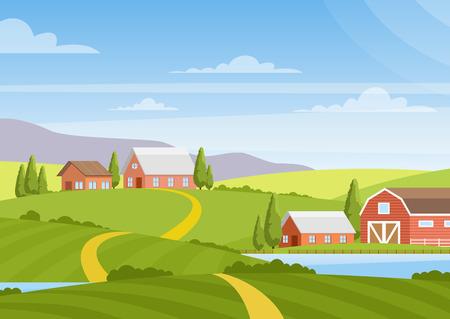 Illustrazione vettoriale del bellissimo paesaggio di campagna con campi, alba, colline verdi, fattoria, case, alberi, cielo blu di colore brillante, sfondo in stile cartone animato piatto