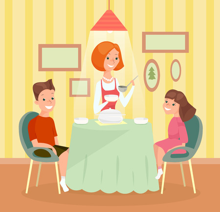 Vector illustration of family meal concept. Mother , son and daughter together at the table and have dinner in cartoon flat style