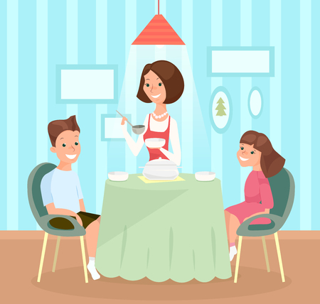 Vector illustration of family meal. Mother pours soup in children s dishes, son and daughter together sit at the table and have lunch. Happy girl and boy, sister and brother with mom in flat cartoon style Illustration