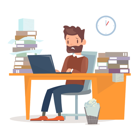Vector illustration of unhappy tired businessman sitting at the desk with computer and a lot of papers and documents. A lot of work for manager character. Business concept in flat cartoon style