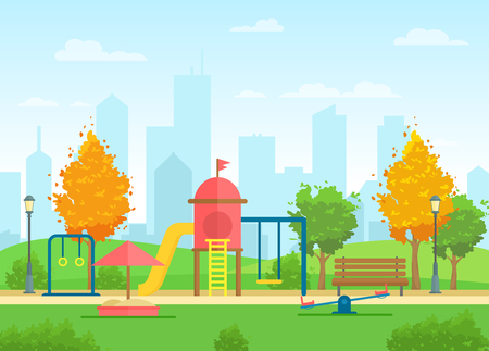 Vector illustration of public city park with playground for children and urban city landscape on the background in flat cartoon style Standard-Bild - 126915472